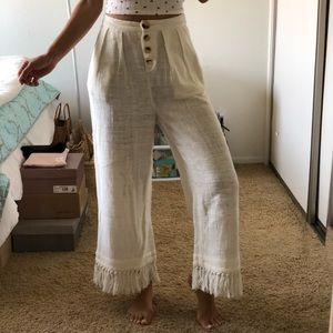 Free People Linen Knitted Fringe Hem Pants